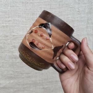 Vintage Japan Speckled Fish Glazed Pottery Mug